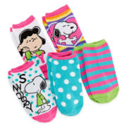 Snoopy 5-pk. No-Show Socks - Girls