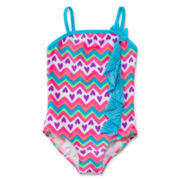 Breaking Waves 1-pc. Chevron Heart Swimsuit – Girls 4-6x
