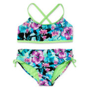 Breaking Waves 2-pc. Floral Swimsuit – Girls 7-16