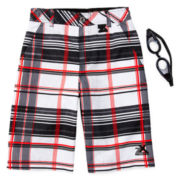 ZeroXposur® Plaid Swim Trunks and Goggles – Boys 8-20