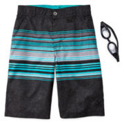 ZeroXposur® Stripe Swim Trunks & Goggles – Boys 8-20