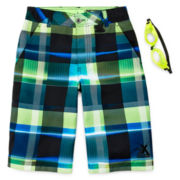 ZeroXposur® Plaid Swim Trunks & Goggles – Boys 8-20