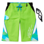 ZeroXposur® Cyber Geo Swim Trunks & Goggles – Boys 8-20