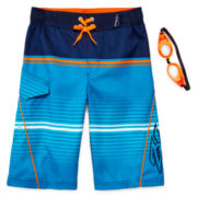 ZeroXposur® Striped Swim Trunks and Goggles – Boys 8-20