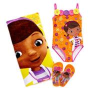 Disney Collection Doc McStuffins Swimsuit, Flip Flops or Beach Towel