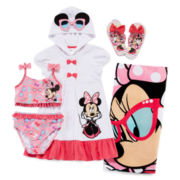 Disney Collection Minnie Mouse Cover Up, 2-pc. Swimsuit, Flip Flops or Beach Tow