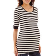 Maternity Elbow-Sleeve Striped High-Low Hem Knit Tee