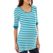 Maternity Elbow-Sleeve Striped High-Low Hem Knit Tee - Plus