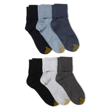 jcpenney.com | GoldToe® 6-pk. Turn-Cuff Crew Socks - Extended Sizes