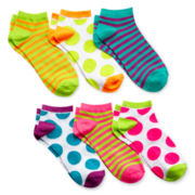 6-pk. Polka Dot Print No-Show Socks