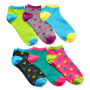 6-pk. Heart Print No-Show Socks