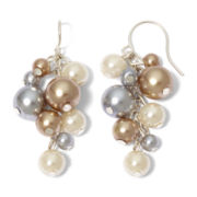 Vieste Silver-Tone Pearlized Glass Bead Shaky Drop Earrings
