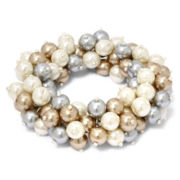 Vieste Pearlized Glass Bead Stretch Bracelet