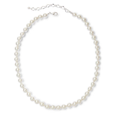 jcpenney.com | Vieste® Silver-Tone Pearlized Glass Bead Long Necklace