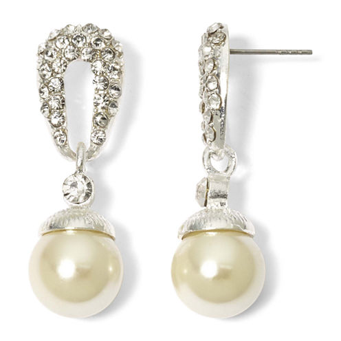 Vieste Silver-Tone Pearlized Glass Bead Pavé Drop Earrings