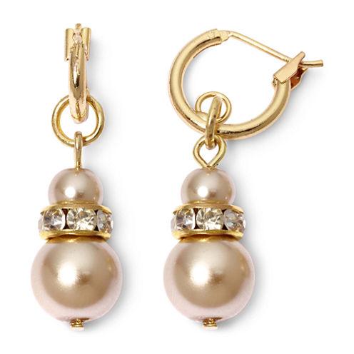 Vieste® Gold-Tone Pearlized Glass Bead Hoop Earrings
