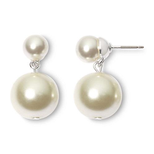 Vieste Silver-Tone Pearlized Glass Bead Bobby Drop Earrings
