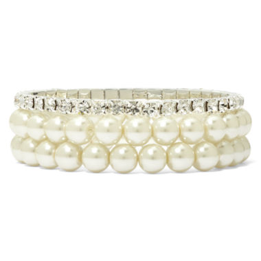 jcpenney.com | Vieste Silver-Tone Pearlized Glass Bead 3-pc. Stretch Bracelet