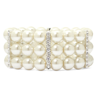 jcpenney.com | Vieste® Silver-Tone Pearlized Glass Bead 3-Row Stretch Bracelet