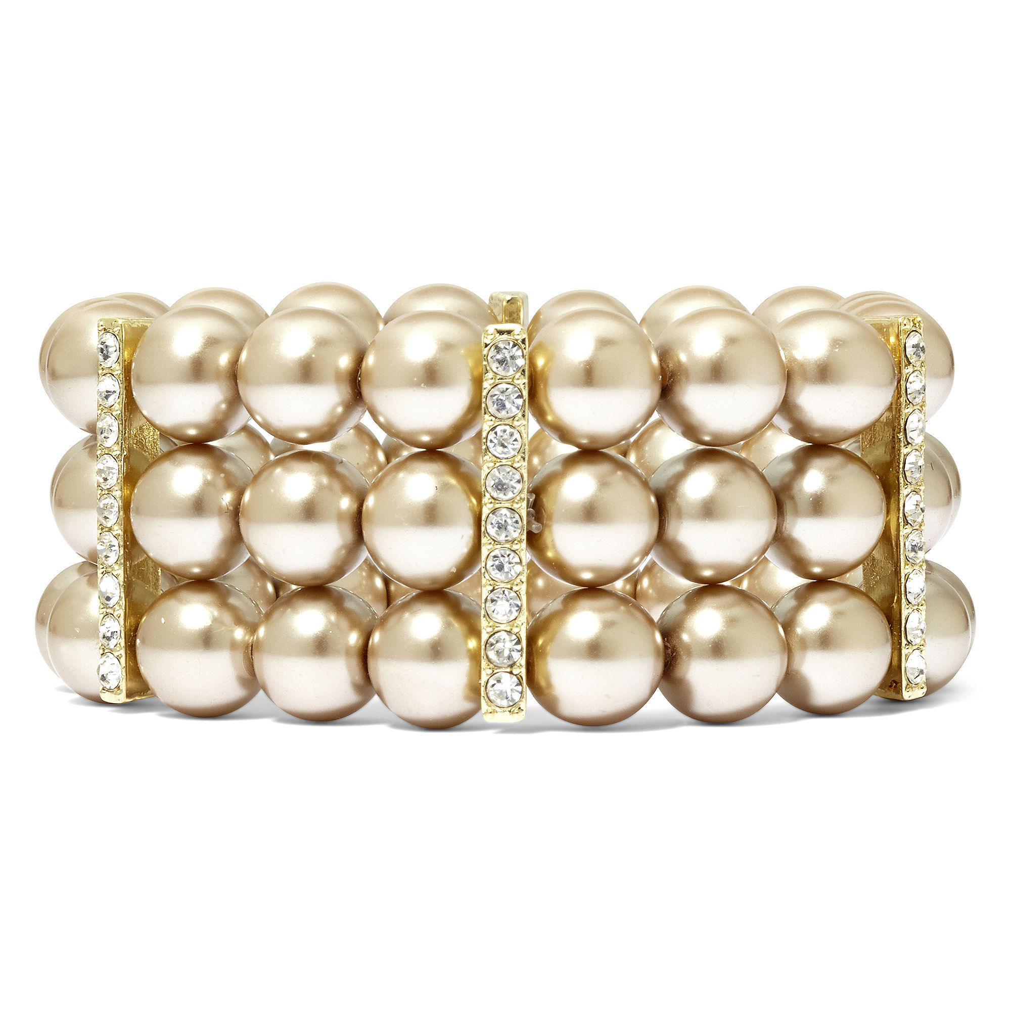 Vieste Silver-Tone Pearlized Glass Bead 3-Row Stretch Bracelet
