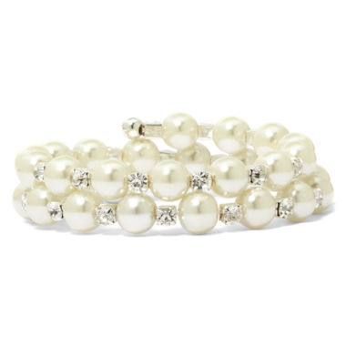 jcpenney.com | Vieste Silver-Tone Pearlized Glass Bead and Rhinestone Coil Bracelet