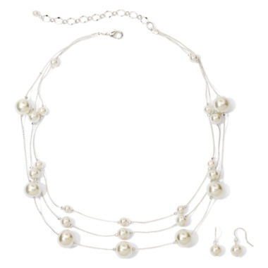 jcpenney.com | Vieste® Silver-Tone Pearlized Glass Bead 3-Row Necklace and Earring Set