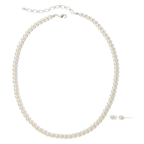 Vieste Silver-Tone Pearlized Glass Bead Strand Necklace and Earring Set