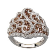 Sterling Silver Chocolate & Crystal Dome Swirl Ring