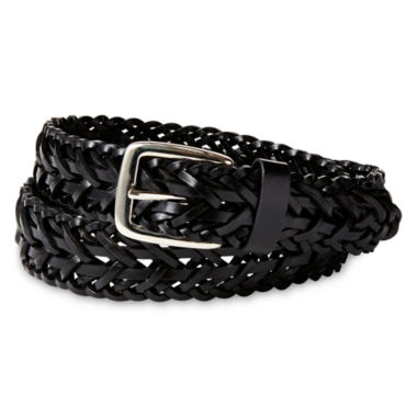 jcpenney.com | IZOD® Black Leather Braided Belt - Boys 8-20