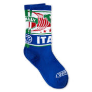 Overtime Italy Blue Crew Socks - Boys