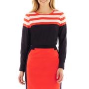 Worthington® Long-Sleeve Striped Blouse