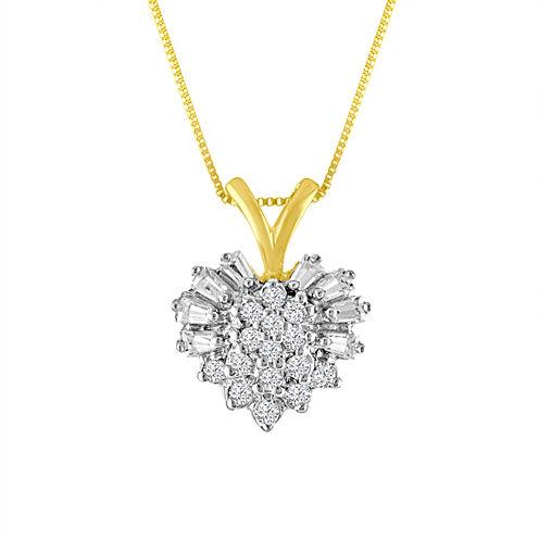 Womens 1/5 CT. T.W. White Diamond 10K Gold Pendant Necklace