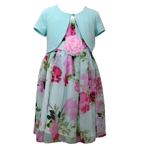 Bonnie Jean Floral Chiffon Dress with Cardigan - Girl's 7-16 and Plus