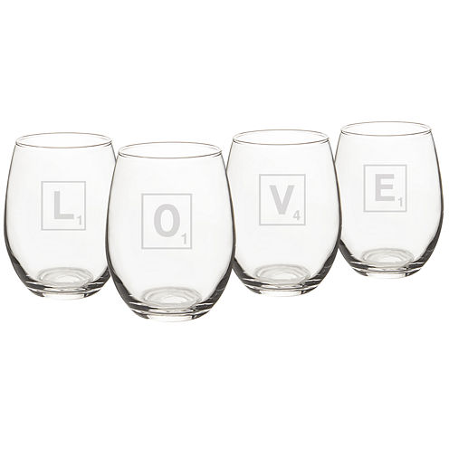 Cathy's Concepts Love Scrabble 4-pc. Wine Glass