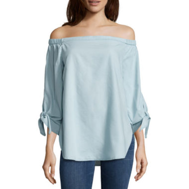 jcpenney.com | a.n.a 3/4 Sleeve Cotton Blend Blouse