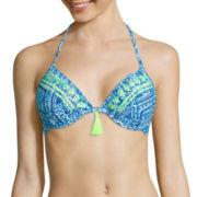Arizona Do Or Diamond Embroidered Banded Halter Swim Top - Juniors