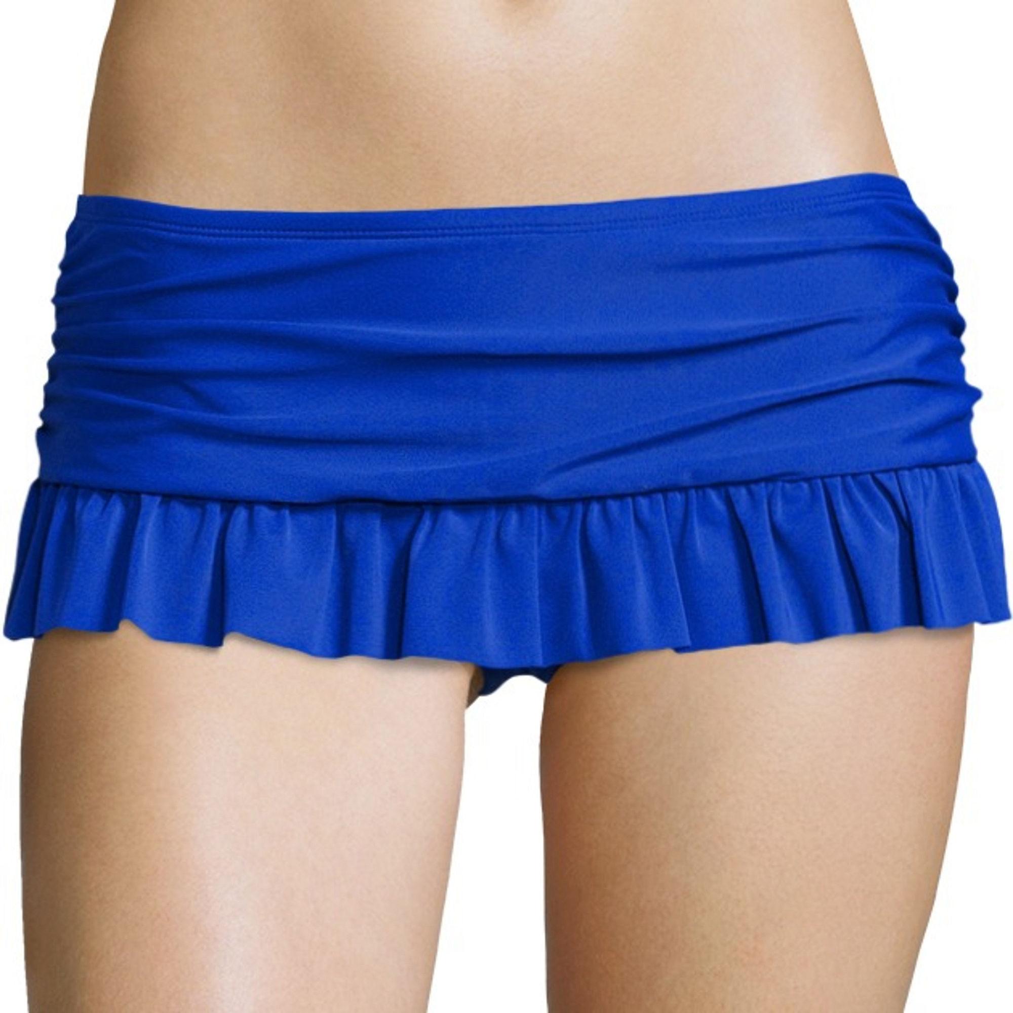 Arizona Solid Ruffle Skirtini Swim Bottom - Juniors plus size,  plus size fashion plus size appare