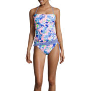 Arizona Full Bloom Floral Bandeaukini Swim Top or Hipster Swim Bottom - Juniors