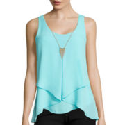 by&by Sleeveless Fold Over Front Necklace Tank