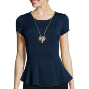 by&by Short-Sleeve Textured Necklace Top