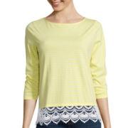 St. John's Bay® 3/4-Sleeve Lace-Hem Top