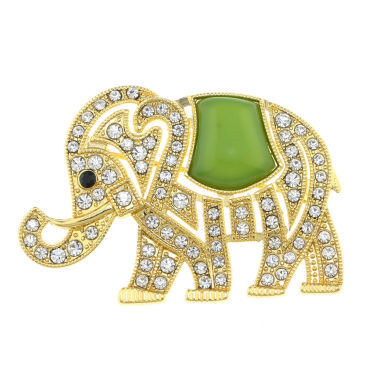 jcpenney.com | Monet® Crystal and Green Stone Elephant Pin