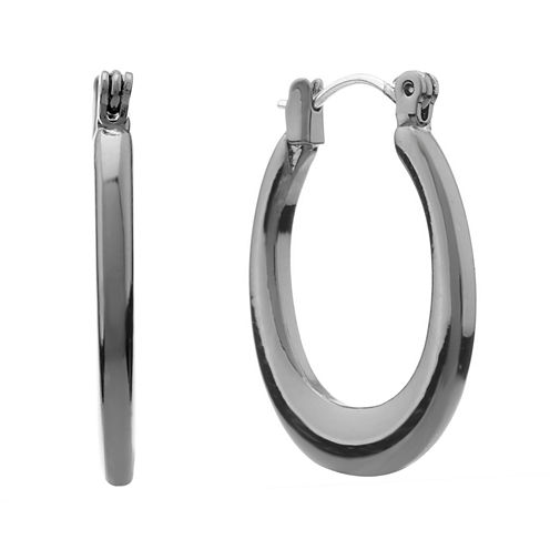 Liz Claiborne® Hematite Hoop Earrings