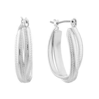 jcpenney.com | Monet® Silver-Tone Oval 2-Row Hoop Earrings