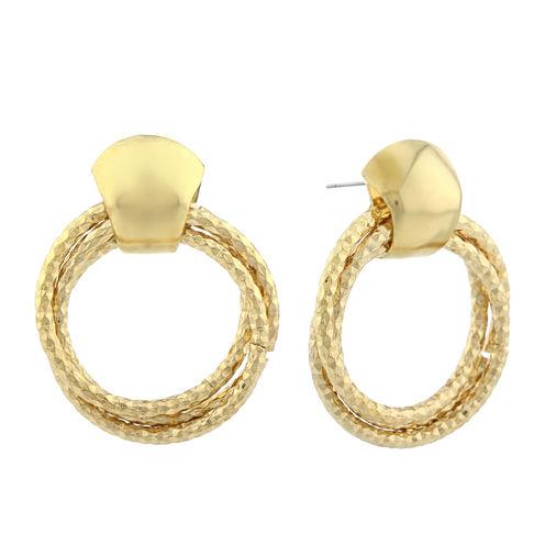 Monet® Gold-Tone Diamond-Cut Doorknocker Earrings