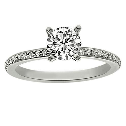 Womens 5/8 CT. T.W. Round White Diamond Platinum Solitaire Ring