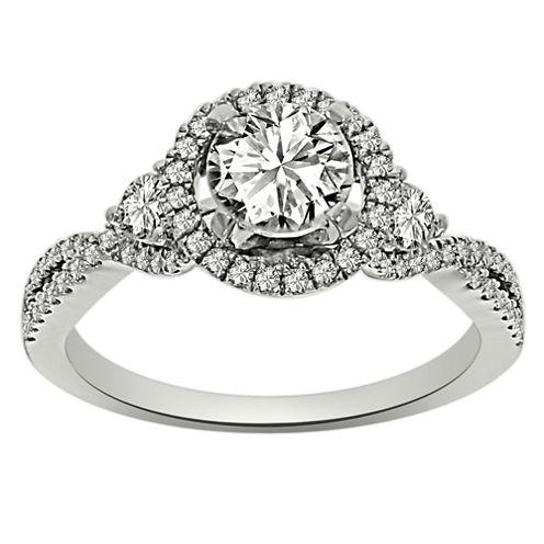 Womens 1 1/4 CT. T.W. Round White Diamond Platinum Engagement Ring