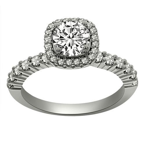 Womens 1 1/3 CT. T.W. Round White Diamond Platinum Halo Ring