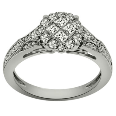jcpenney.com | Womens 3/4 CT. T.W. Princess White Diamond Platinum Engagement Ring