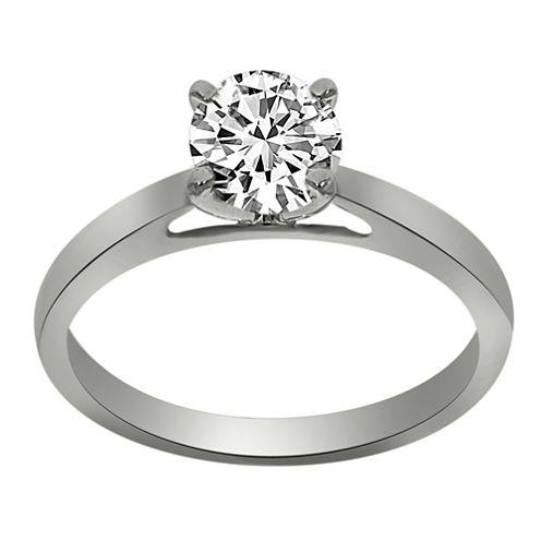 Womens 3/4 CT. T.W. Round White Diamond Platinum Solitaire Ring